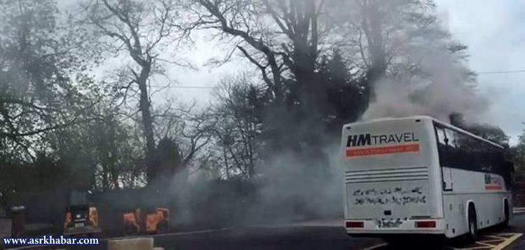 صحنه نفسگیر خروج دانشآموزان از اتوبوس آتشگرفته + فیلم