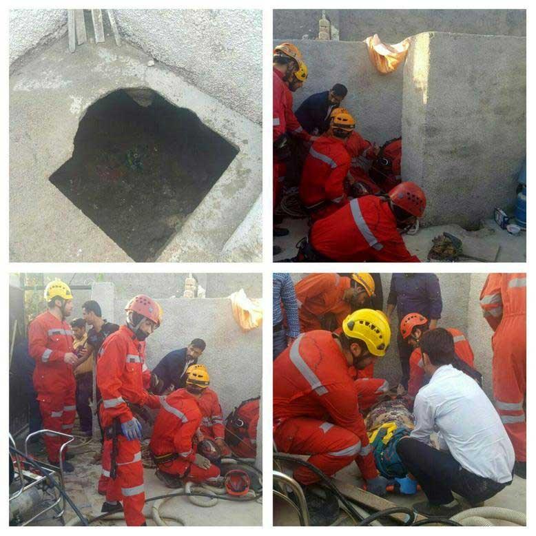 زن ٢٠ساله به درون چاه فاضلاب سقوط كرد(عكس)