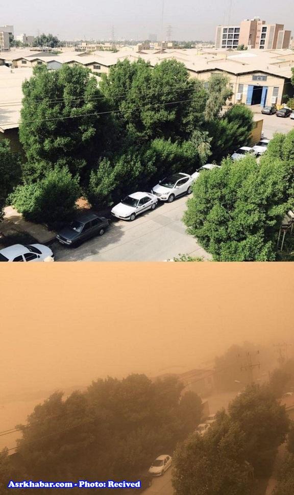 هوای اهواز در دو روز متفاوت (+عکس)