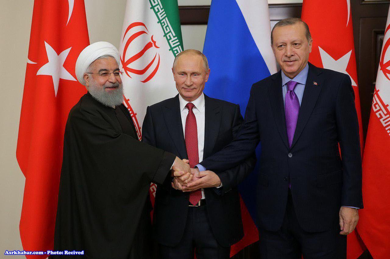 عکس یادگاری روسای جمهوری ایران، روسیه و ترکیه در سوچی