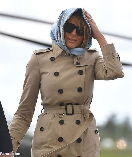 ملانیا ترامپ روسری سر کرد (+عکس)