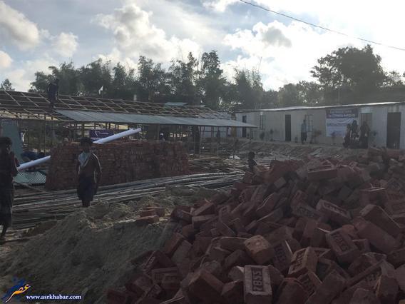 محل ساخت ساختمان برای آوارگان داخل کمپ